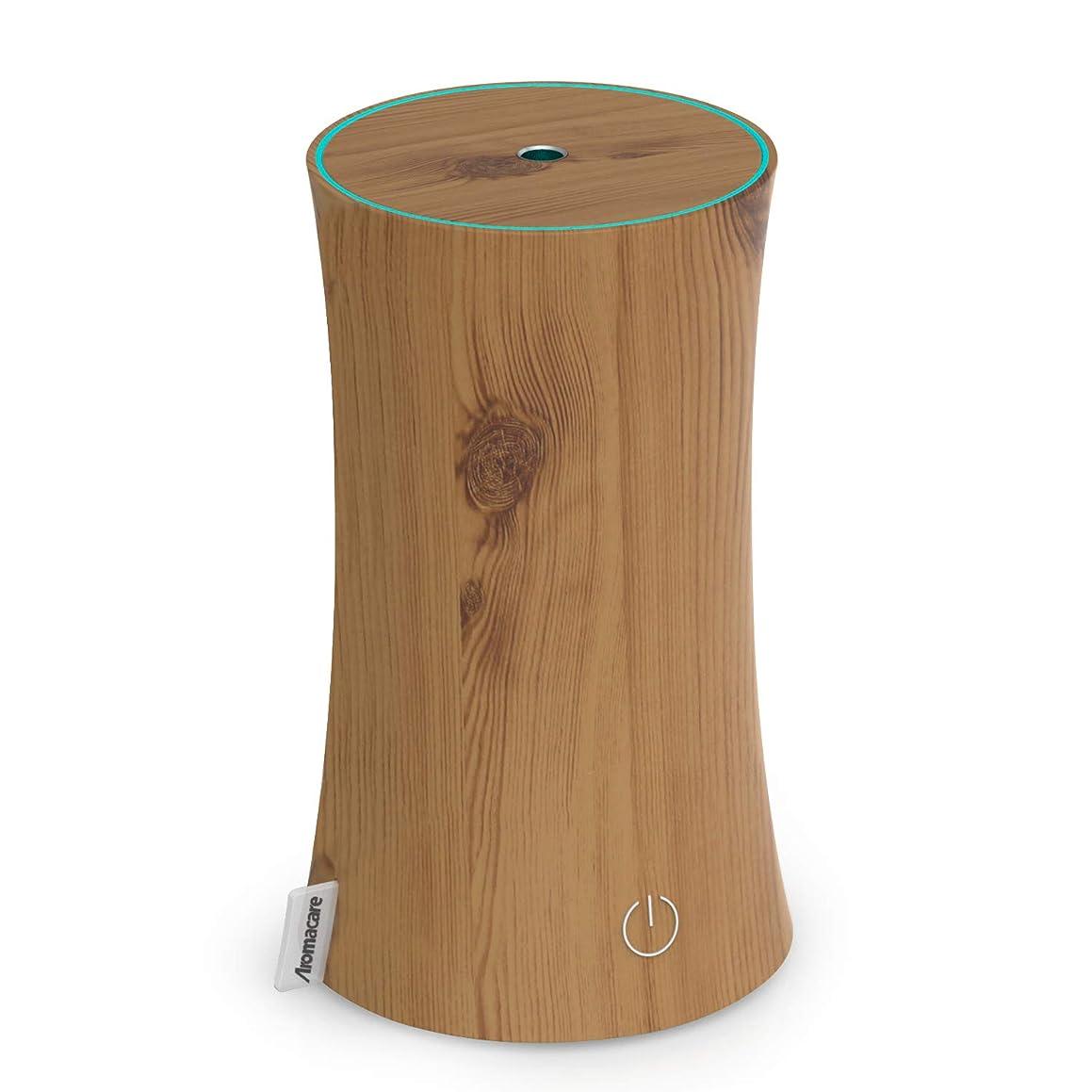 道路曲がったペナルティアロマディフューザー 卓上加湿器 センサー付き 超音波式 空焚き防止 低騒音 300ml 連続運転 各場所用 省エネ 木目調 木の色