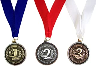 Winner Medals Set of 3 Gold Silver Bronze Tone on Red White and Blue Ribbon