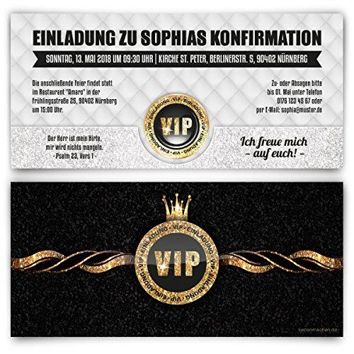 30 x Einladungskarten Konfirmation Einladung Konfirmationseinladungen individuell - VIP Gold