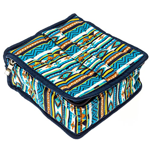 Blue Essential Oil Bottle Carrying Case - 30 Bottles of 5ml, 10ml, or 15ml Sizes for Storing & Traveling by Diffusing Essentials™ - Neon Navajo Aztec Fabric