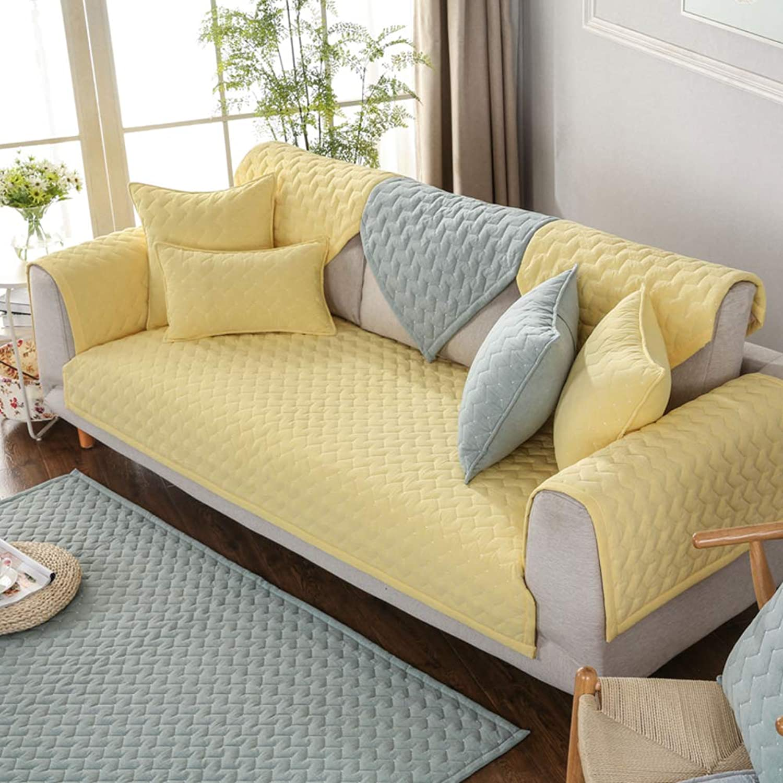 YEARLY Gesteppter Baumwolle Couch-Abdeckung, Couch-Abdeckung, Couch-Abdeckung, Nordische Verdicken sie Sofa-Überwürfe Anti-rutsch Möbel Protector Sofabezug Vier Jahreszeiten Für Haustiere, Hunde, Kinder-Gelb 90x210cm(35x83inch) B07MP3CBQN 7ca075