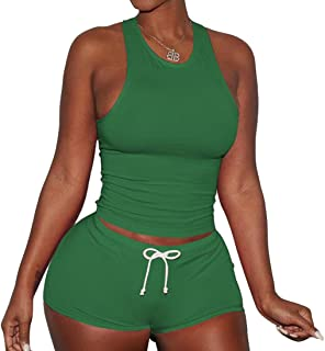 FSSE Womens Casual Sport Tank Top and Beach Shorts Gym Workout Outfits Tracksuits