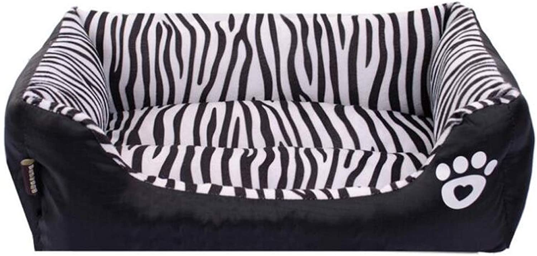 Dog Bed Zebra Pattern Kennel Cat Sofa Cozy Zebra Pattern Rectangular Pet Nest Cat Litter Zebra Nest Pet Dog Bed,S