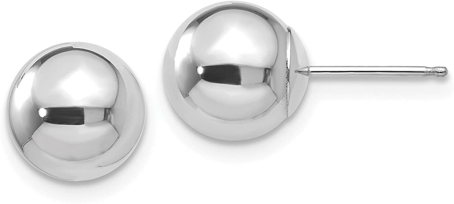 14K White Gold Polished 8mm Ball Post Earrings (Approximate Measurements 8mm x 8mm)