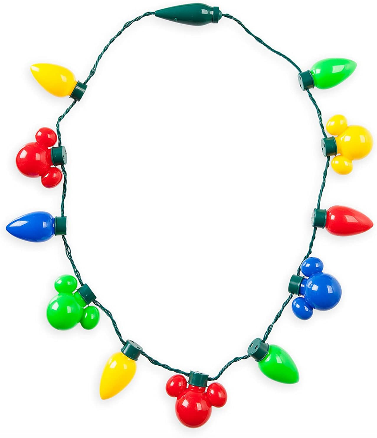 Disney Parks Christmas Jingle Bell 2019 Mickey Glow Light Up Animated Necklace