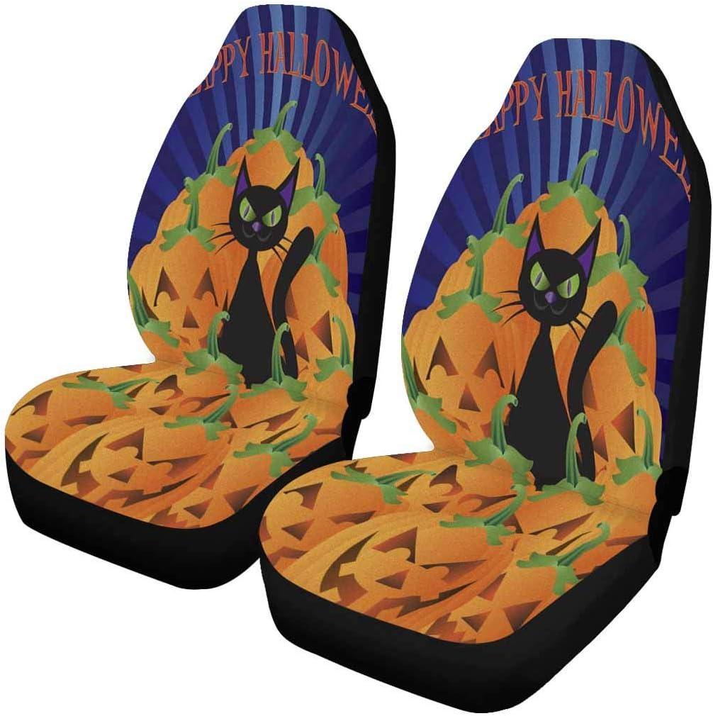 INTERESTPRINT Halloween New Direct stock discount life Black Cat Sitting Pile on Ja of Pumpkins