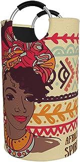 N\A Grand Panier à Linge, Beau Sac de vêtements Folable Femme Afro-américaine, Panier Pliable en Tissu 82L, bacs de Lavage...