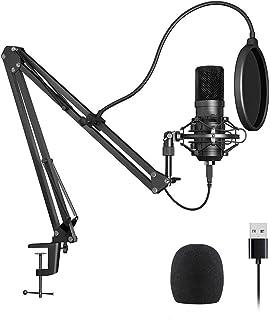 AMERTEER Studio Condenser USB Microphone -192KHZ/24BIT Computer PC Microphone Kit with Adjustable Scissor Arm Stand Shock ...
