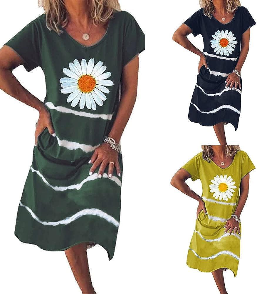 JiHua Womens Summer O-Neck Cute Stripe Printed Short Sleeve Casual Soft Loose Comfy Sleep Midi Dress Nightdress
