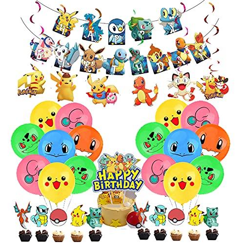 Decoración de Cumpleaños Pokémon Globos de Fiesta Pancarta de Feliz Cumpleaños Adorno para Tarta Remolinos Colgantes para Niños Pikachu Suministros de Fiesta de Cumpleaños Decoracion