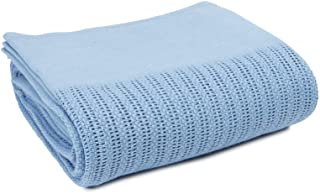 Linteum Textile (66x90 in, Light Blue) Hospital Thermal Blanket, 100% Cotton, Breathable Open-Cell Weave Design