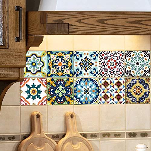 10 piezas pegatinas de azulejos 6x6 pulgadas pegatinas cuadradas estilo retro pegatinas de azulejos de pared impermeables para cocina baño decoración de arte (15x15 cm)