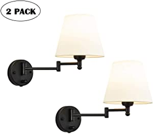 HAITRAL Adjustable Swing Arm Wall Sconces 2 Pack - Bedroom Wall Lamps with White Shade& Black Metal, Plug in& Hardwire Modern Wall Lamps for Bedside, Farmhouse, Kitchen, Bedroom(Bulb is Not Included)