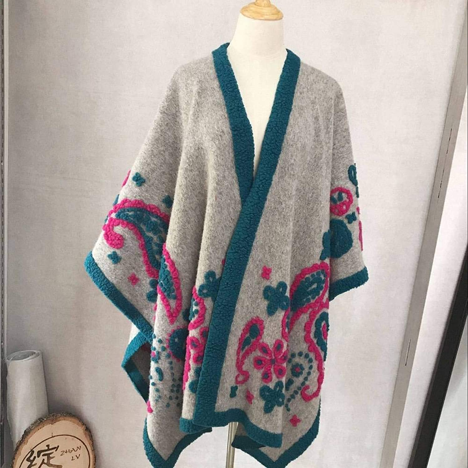 WJS Elegant Ladies Gradient color Wool Women Warm Flowers Extra Long Scarf Autumn and Winter Outdoor MultiFunctional Fgreyion Trend Wild Warm Shawl Scarf Gift