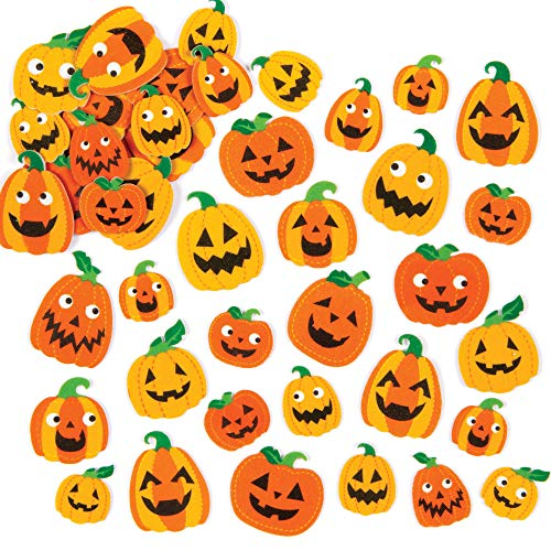 Baker Ross ET654 Pumpkin Foam Stickers - Pack of 128, for Kids' Crafts and Art Projects, Cards, Party Bags, and Ornaments