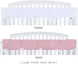 """Crib Rail Cover Protector Safe Teething Guard Wrap for Wide Long Front Crib Rails, Measuring up to 18"""" Around,Pink/White, Safe and Secure Crib Rail Cover."""