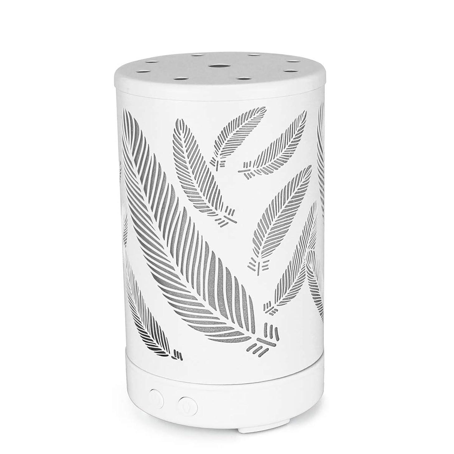 ミニチュア効果的キラウエア山エッセンシャルオイルディフューザー、7つのカラフルなLEDライトの調節可能なミストモード(葉)と金属アロマセラピーディフューザー