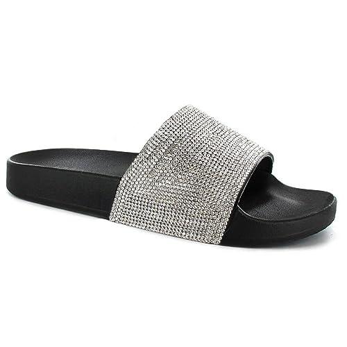 b2ddef56c0c5 SUGAR ISLAND Celebrity Style Ladies Womens Glitter Diamante Flip Flop  Sliders Plain Slippers Mules