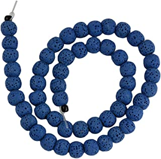 Jili Online 8mm Natural Volcanic Lava Stone Round Loose Beads Spacer Gemstone 15'' DIY Accessory - Navy Blue, 8mm
