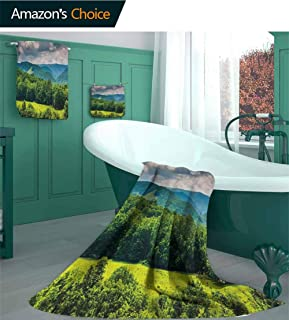 Landscape Luxury Decorative European Bath Towel(3-Piece), View of Mountains in Potomac Highlands of West Virginia Rural Scenery Picture, 100% Organic Cotton for Men and Women Everyday use