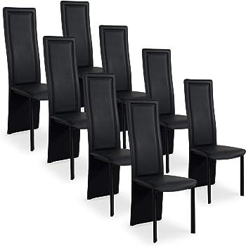 INTENSEDECO Lot de 8 chaises Design Maestro Noir