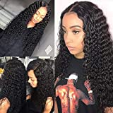 Brazilian Virgin Human Hair Wigs Deep Wave Lace Front Wigs Human Hair, 130% Density Wet and Wave Wigs for Black Women 4x4 Lace Closure Wigs Natural Color(deep 24 inch)