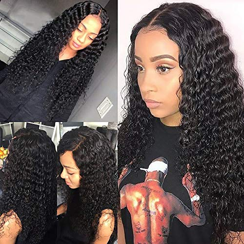 Amanda Brazilian Virgin Human Hair Wigs Deep Wave Lace Front Wigs Human Hair 150% Density Wet and Wave Wigs for Black Women 4x4 Lace Closure Wigs Natural Color(24 inch,deep wave wigs )