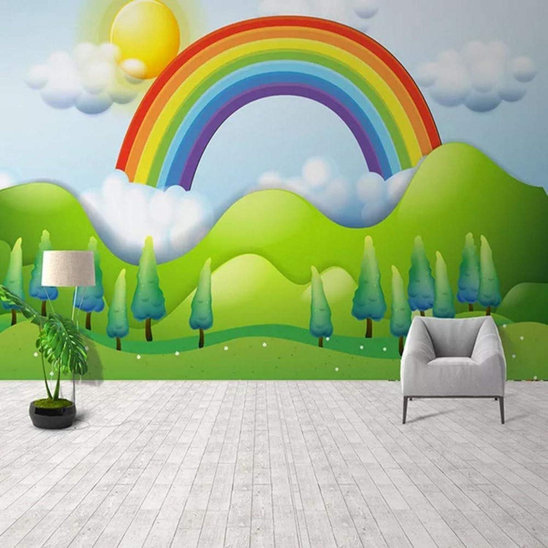 venta al por mayor barato Mural Papel Tapiz Fotográfico Personalizado Personalizado Personalizado Pintado A Mano Rainbow Mural Habitación De Los Nios Jardín De Infantes De Fondo Decoración De La Parojo Pintura Mural-200X140CM  bajo precio del 40%