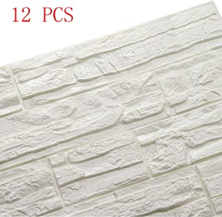 Doremy 3D Brick Textured Pattern Wall Panels Wallpaper Self-Adhesive PE Foam Waterproof Modern Style for Living Room Bedroom Kitchen Background Decoration 12PCS=46.5 SQ.FT(12PCS, White)