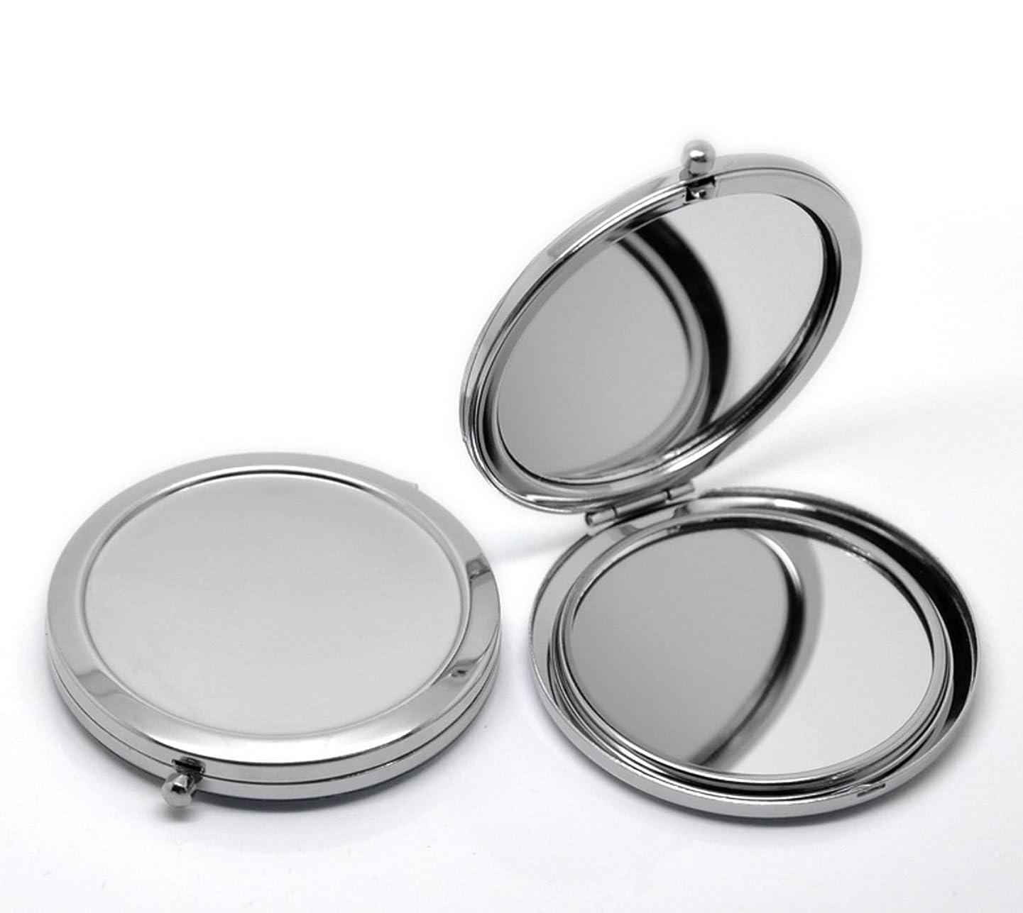 HOUSWEETY 無地コンパクトミラー プチ手鏡 ハンドミラー 携帯ミラー 丸型 化粧箱入り 折りたたみ おしゃれ レディース 小物 (デザインA)