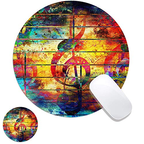 Music Note Customized Rubber Base Mouse Pad And Coaster Set For Mac,PC,Computers.7.9x7.9in