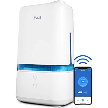 LEVOIT Humidifiers for Bedroom, Smart Wi-Fi Cool Mist Essential Oils Diffuser in one, 4L Ultrasonic Air Vaporizer for plants, baby, Quiet for home large room, nursery, 40 Hours, Classic 200S, Blue
