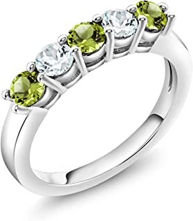 1.44ct Natural Peridot White Gold Plated 925 Sterling Silver Engagement Ring