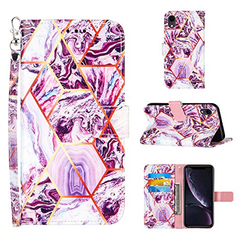 Compatible for iPhone XR Wallet Case,[Stand Feature][Wrist Strap][Credit Cards Holder] 2021 New Marble Pattern Premium PU Leather Flip Protective Cover for iPhone XR Cases (Purple)