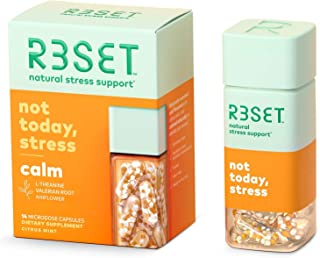 R3SET Calm Stress & Occasional Feelings of Anxiety Support Supplement with Ashwagandha, L Theanine & Vitamin D, Valerian, ...