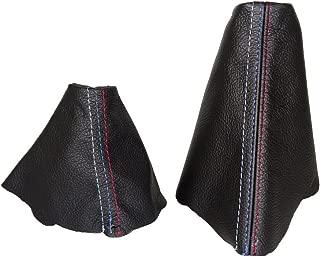 The Tuning-Shop Ltd for BMW E90 E91 E92 E93 2005-2013 Automatic Shift & E Brake Boot Black Genuine Leather M3 /// Stitching