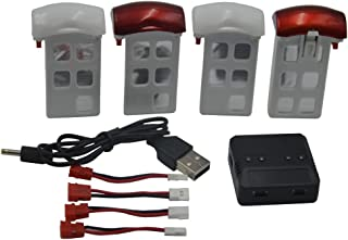 Blomiky 4 3.7V 600mAh Battery and 1 Charger Fit for X5UC X5UW Quadcopter Drone X5U Battery 4 Pack