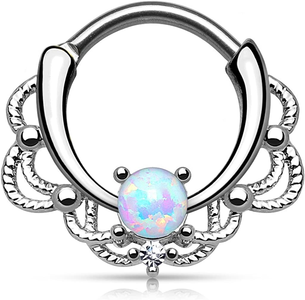 Pierced Owl 16GA Stainless Steel Lacey Synthetic Single Opal Septum Clicker Ring