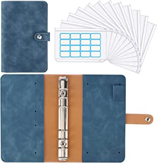 Housolution A6 Notebook Budget Binder, Mini PU Leather Money Organizer with 12 PCS Clear Plastic Zippered Cash Envelopes P...