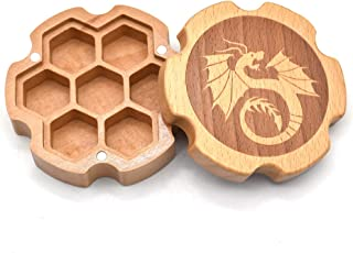 Wooden Storage Box with Random Set of DND Dice, for 16mm DND Dice, Dice Holder, Wood Chest with Magnetic Lid, Magic The Gathering Dice Counters, Tabletop Games