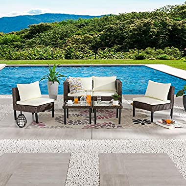 LOKATSE HOME 6 Pieces Patio Furniture Outdoor All Weather Wicker Conversation Sets with Brown Rattan Sofa Chair…
