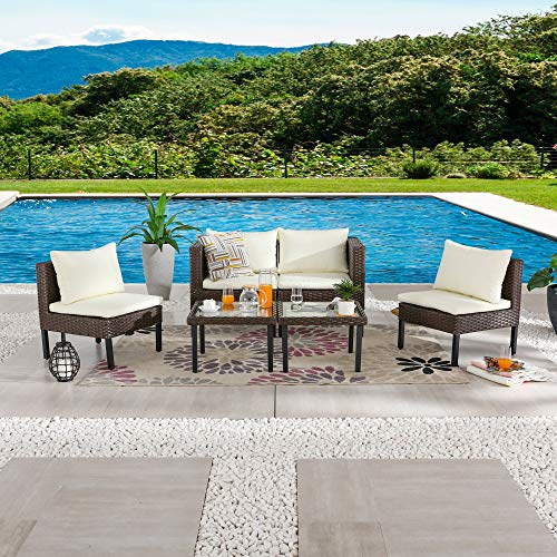 LOKATSE HOME 6 Pieces Patio Furniture Outdoor All Weather Wicker Conversation Sets with Brown Rattan...