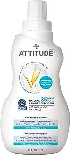 ATTITUDE Sensitive Skin, Hypoallergenic Laundry Detergent, Fragrance Free, 33.8 Fluid Ounce, 35 Loads