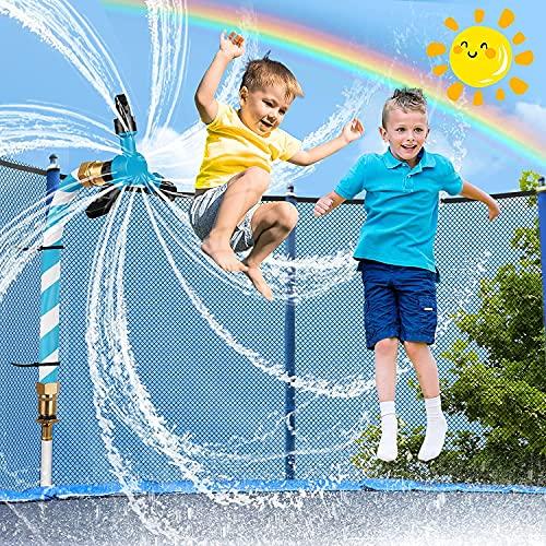 LESDOI® Rotierender Trampolin Sprinkler, verhindert Platzen und Auslaufen, mit verdicktem Wasserrohr, 10 wiederverwendbaren Breiten Kabelbindern, Luftballons, für Trampoline, Sommerkühlung, Wasserpark