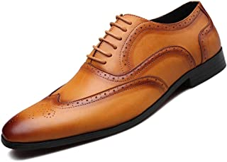 Stylish Men's Formal Oxford Shoes Formal Shoes (Color : Yellow, Size : 42)