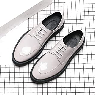 SHENTIANWEI Business Oxfords for Men Dress Shoes Lace up Patent Leather Round Toe 4.5cm Platform Low Top Stitched Solid Color Height Increasing (Color : White, Size : 8 UK)