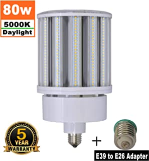 80W LED Corn Light Bulb Medium Base E26 & Mogul Base E39 LED Bulbs, 10000 Lumens (400W-600W Equivalent), 5000K Daylight Metal Halide Replacement for Outdoor Indoor Area Lighting HID/CFL/HPS