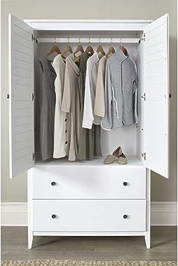 Modern Farmhouse Armoire Dresser Provides Classic Style & Contemporary Function. Wardrobe Closet Storage Organizer Featur