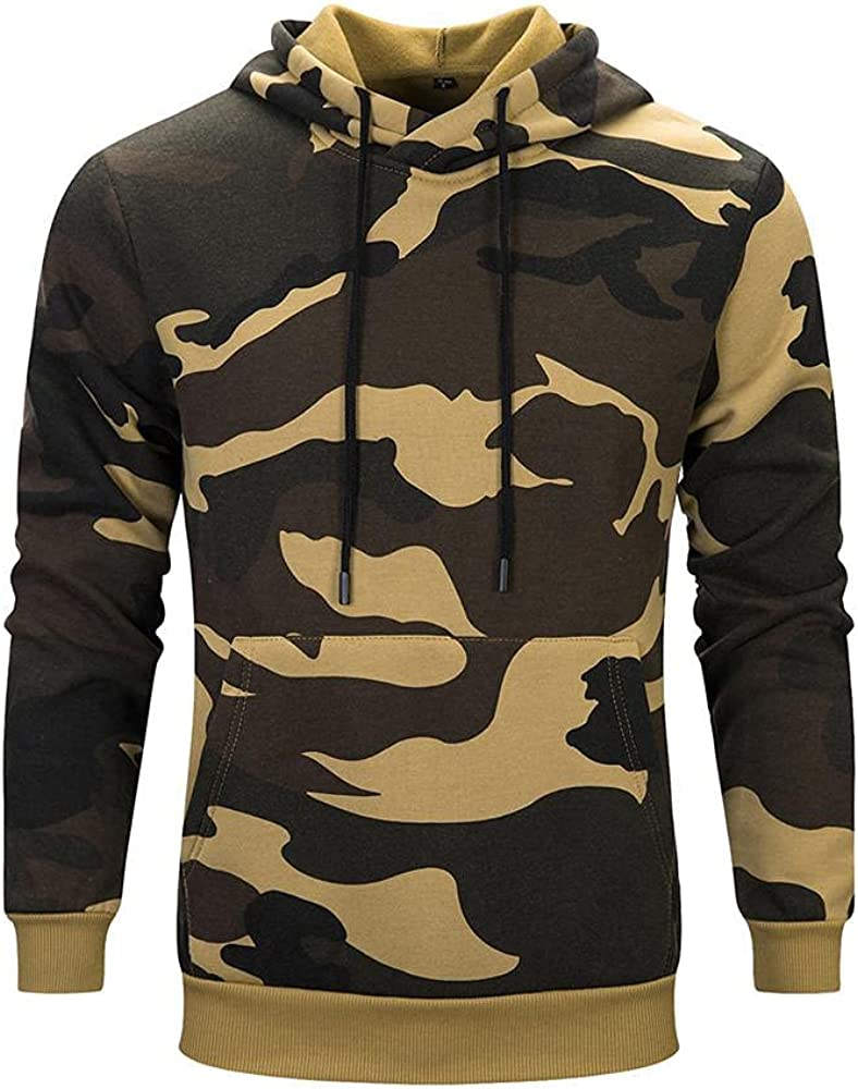 Camouflage Hoodies for Mens Casual Front Pocket Pullover Hooded Sweatshirts Big and Tall Crewneck Long Sleeve Gym Top