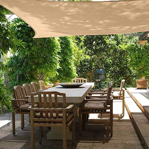 Sun Shade Sail Canopy 6' x 8',Rectangle Shade Cloth UV Block Sunshade Fabric - Outdoor Cover Awning Shelter for Pergola Backyard Garden Yard - Sand